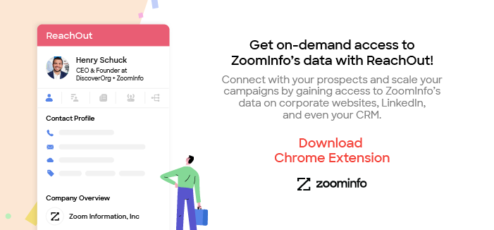 Ad for ZoomInfo's Chrome extention, ReachOut. It allows you to see in your web browser all the data ZoomInfo has on the company who's website you're visiting.