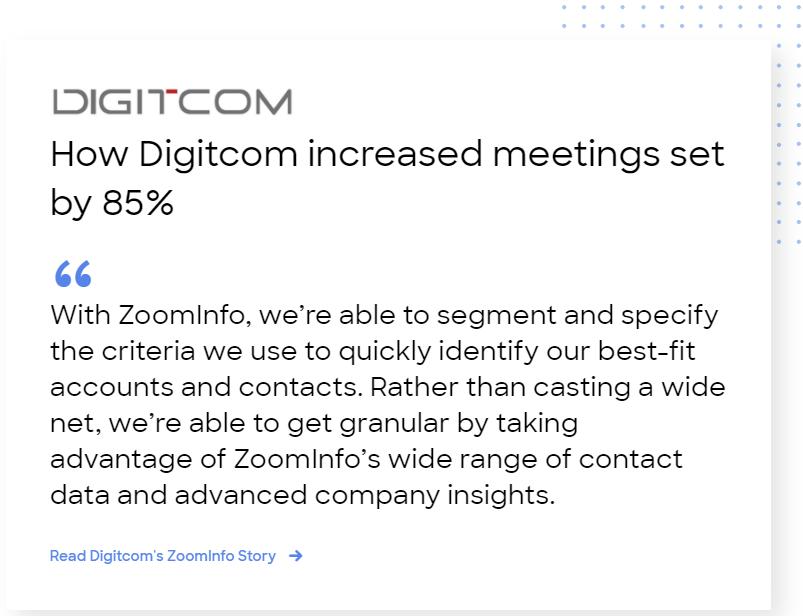 Digitcom case study: ZoomInfo increased meetings set by 85%