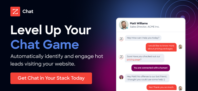 Ad for ZoomInfo Chat. Automatically identify and engage hot leads visiting your website.